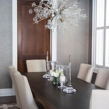 Chrome and Wood Dining Table, Transitional, Dining Room