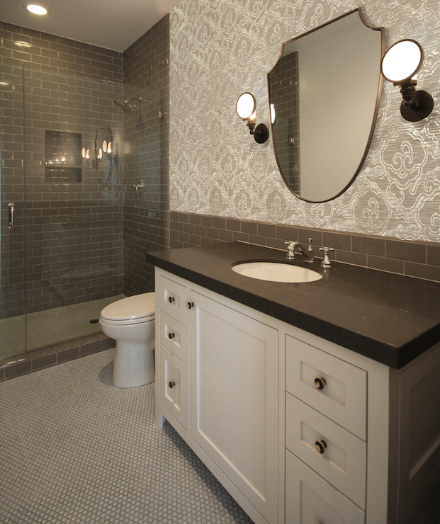 Dark Gray Subway Tiles Transitional Bathroom