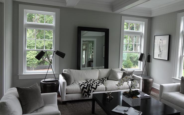 Mirror Behind Sofa Transitional Living Room