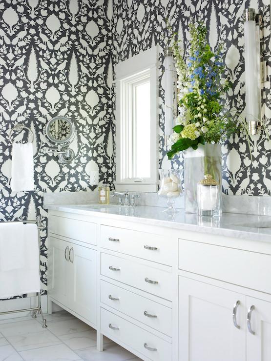 Gray Master Bathroom Wallpaper Transitional Bathroom