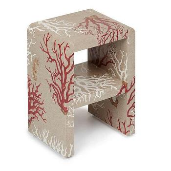 Jean Michele Frank Side Table, Cream and Red Table