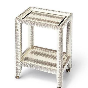 Karl Springer Style Petite Telephone Table, Snakeskin Table