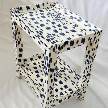 Karl Springer Style Petite Telephone Table, White and Blue Table