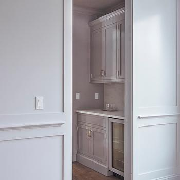 Butler's Pantry with Gray Cabinets, Transitional, Kitchen