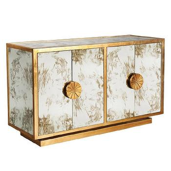 Worlds Away Calypso Gold Leaf Side Table