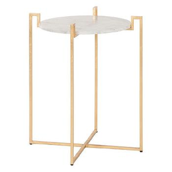 Worlds Away Abel Gold Leaf Side Table