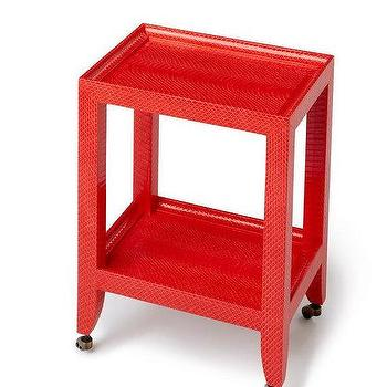 Karl Springer Style Petite Telephone Table, Red Table