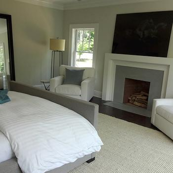 Fireplace Across From Bed, Transitional, Bedroom