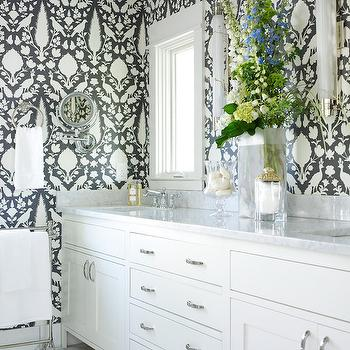Gray Master Bathroom Wallpaper, Transitional, Bathroom