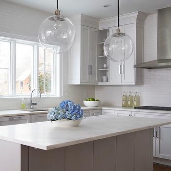 Gray Island in White KItchen, Transitional, Kitchen