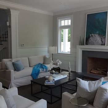 Half Shiplap Walls, Transitional, Living Room
