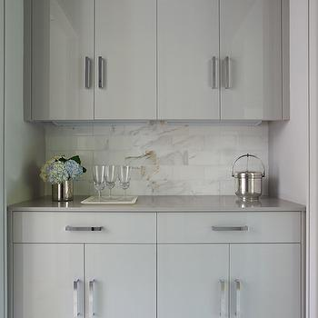 Filled With Gray Flat Front Cabinets Adorned With Modern Polished