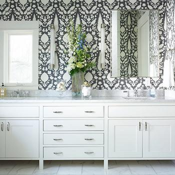Schumacher Chenonceau Charcoal Wallpaper, Transitional, Bathroom