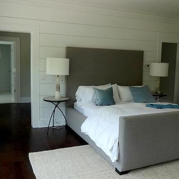 Gray Velvet Bed with Footboard, Transitional, Bedroom