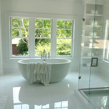 Bathtub Between Shelves, Transitional, Bathroom
