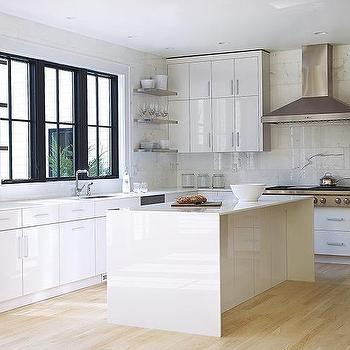 White Lacquered Kitchen Cabinets, Modern, Kitchen