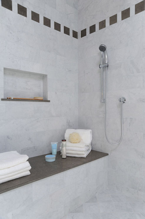 Shower with Tiled Niche, Transitional, Bathroom