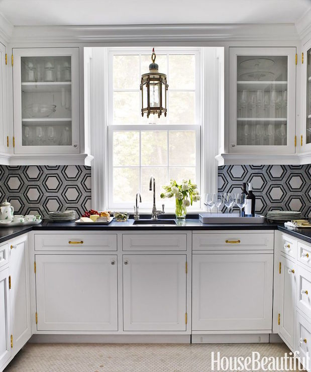 Kitchen With Hex Backsplash