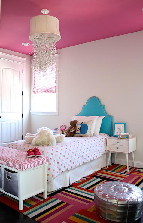Turquoise kids headboard contemporary girl 39 s room for Carpet squares for kids rooms
