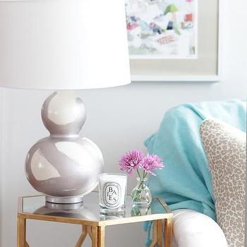 Hand Painted Brushstroke Lamp, Silver
