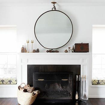 Fireplace with Window Seat Nooks, Transitional, Living Room