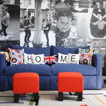 Blue Slipcovered Sofa, Contemporary, Boy's Room