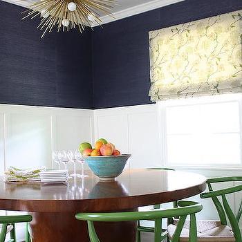 Navy Grasscloth, Contemporary, Dining Room
