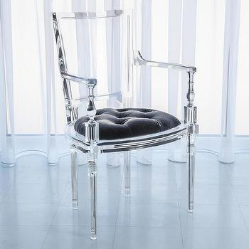 Global Views Marilyn Acrylic Pewter Gray Arm Chair