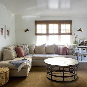 Family Room with Beadboard Wainscoting, Transitional, Living Room