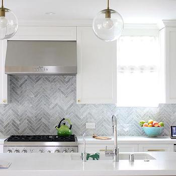 Gray Marble Herringbone Backsplash, Contemporary, Kitchen