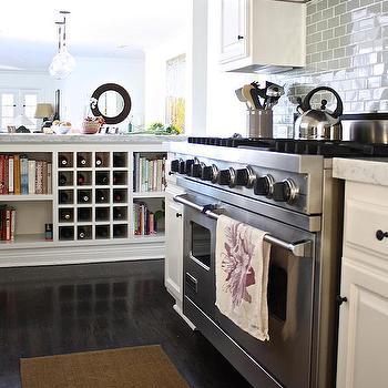 Kitchen Peninsula with Wine Rcak, Transitional, Kitchen