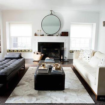 Restoration Hardware Diamond Cowhide Rug, Transitional, Living Room