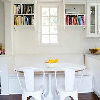White Breakfast Nook, Transitional, Dining Room
