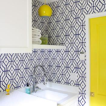 Yellow and Blue Laundry Room, Contemporary, Laundry Room