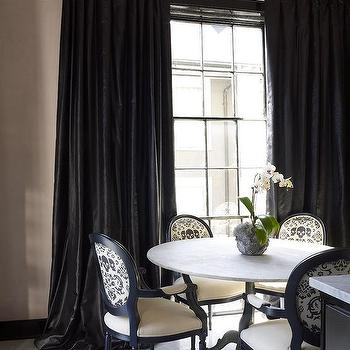 White and Black Dining Rooms, French, Dining Room