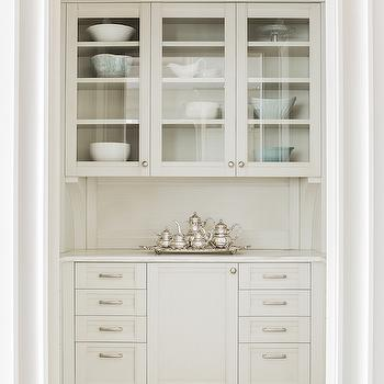 Butlers Pantry with Glass Front Cabinets, Transitional, Kitchen