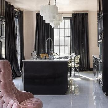 Black Curtains, French, Kitchen
