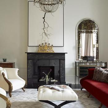 Red Velvet Sofa, Transitional, Living Room