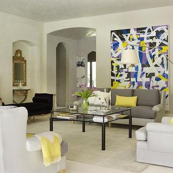 Yellow and Gray Living Room, Contemporary, Living Room
