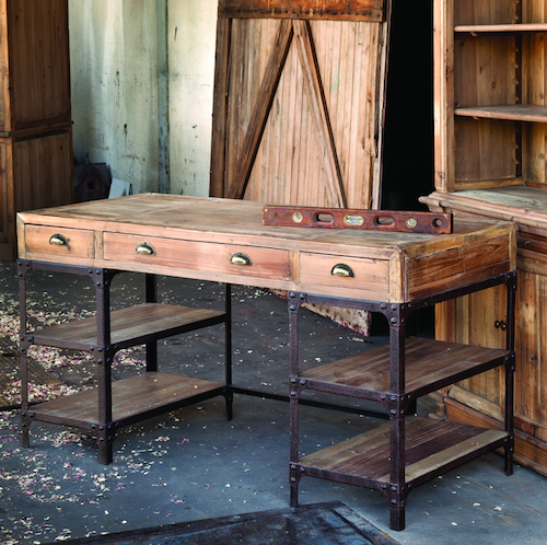 Iron Accents Vintage Style Pine Desk Look for Less