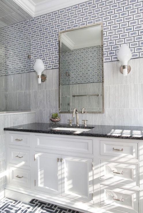 Bathroom With Mixed Tiles Contemporary Bathroom