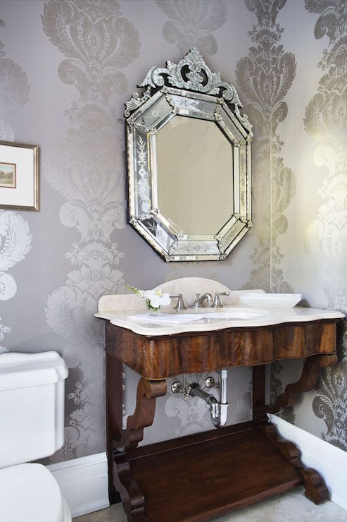 Gray And Silver Damask Wallpaper Traditional Bathroom