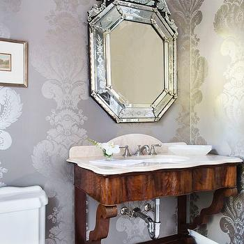 Gray and Silver Damask Wallpaper, Traditional, Bathroom
