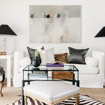 White Shelter Back Sofa, Transitional, Living Room