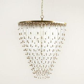 Visual Comfort Cascade Chandelier, Brass And Glass Chandelier