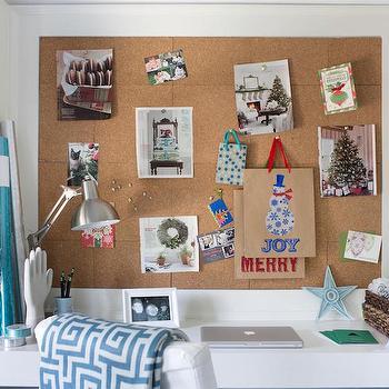 Cork Board Over Desk, Transitional, Bedroom