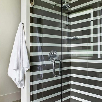 Shower with Black and white Stripe Tiles, Cottage, Bathroom