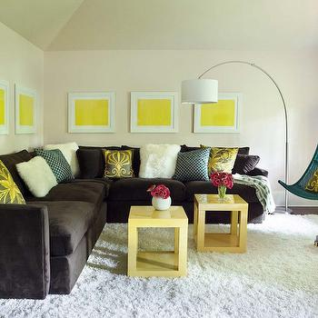 Yellow And Brown Living Room Transitional Living Room