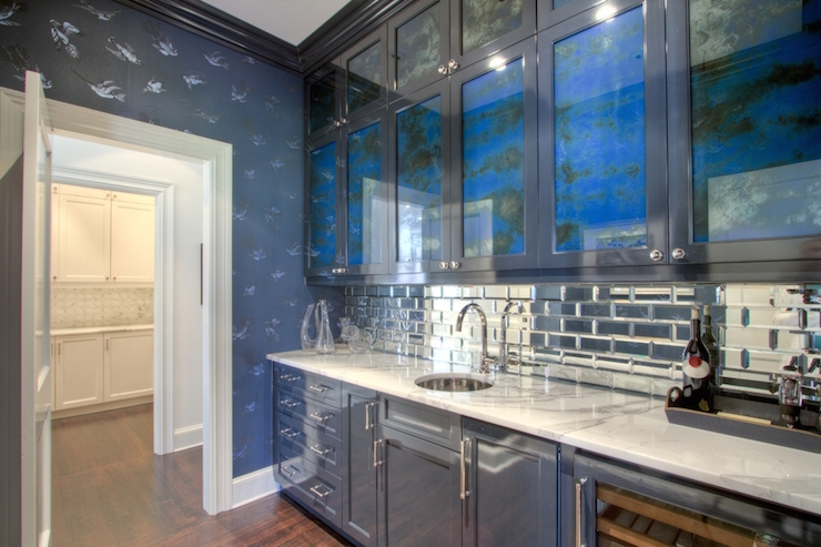 Butler Pantry With Mirrored Subway Tiles Contemporary