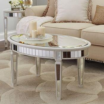 Merriweather Coffee Table, Mirrored Panels Antique White Table